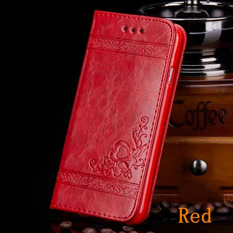 iPhone 8 Plus Wallet Case Leather Flip Card Holder iPhone Cover Red-CoolDesignOnline