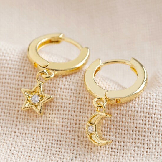 Moon & Star Huggie Hoop Earrings | Gold