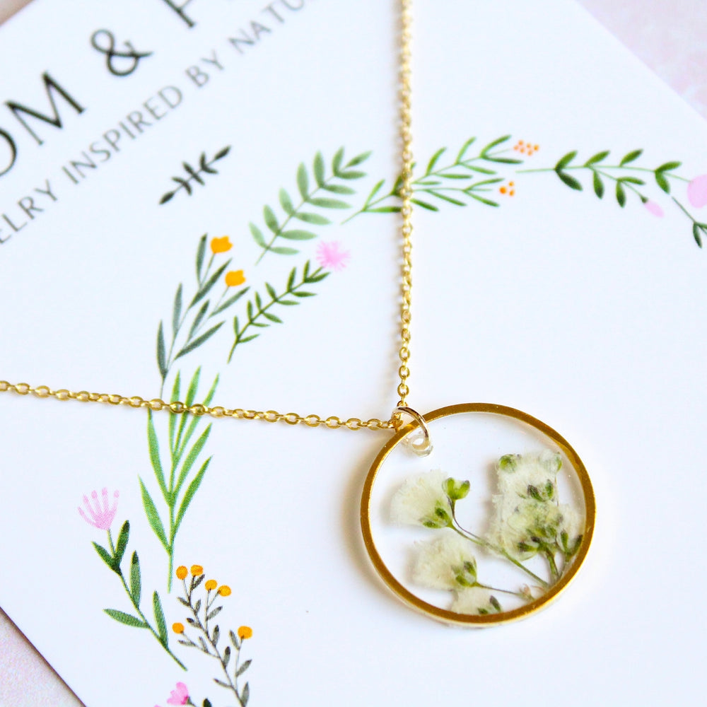 Pressed Flower Necklace | Babies Breath / Gold