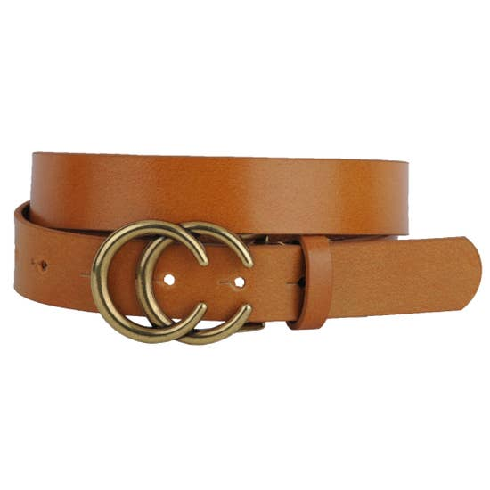 Double C Leather Belt | Camel