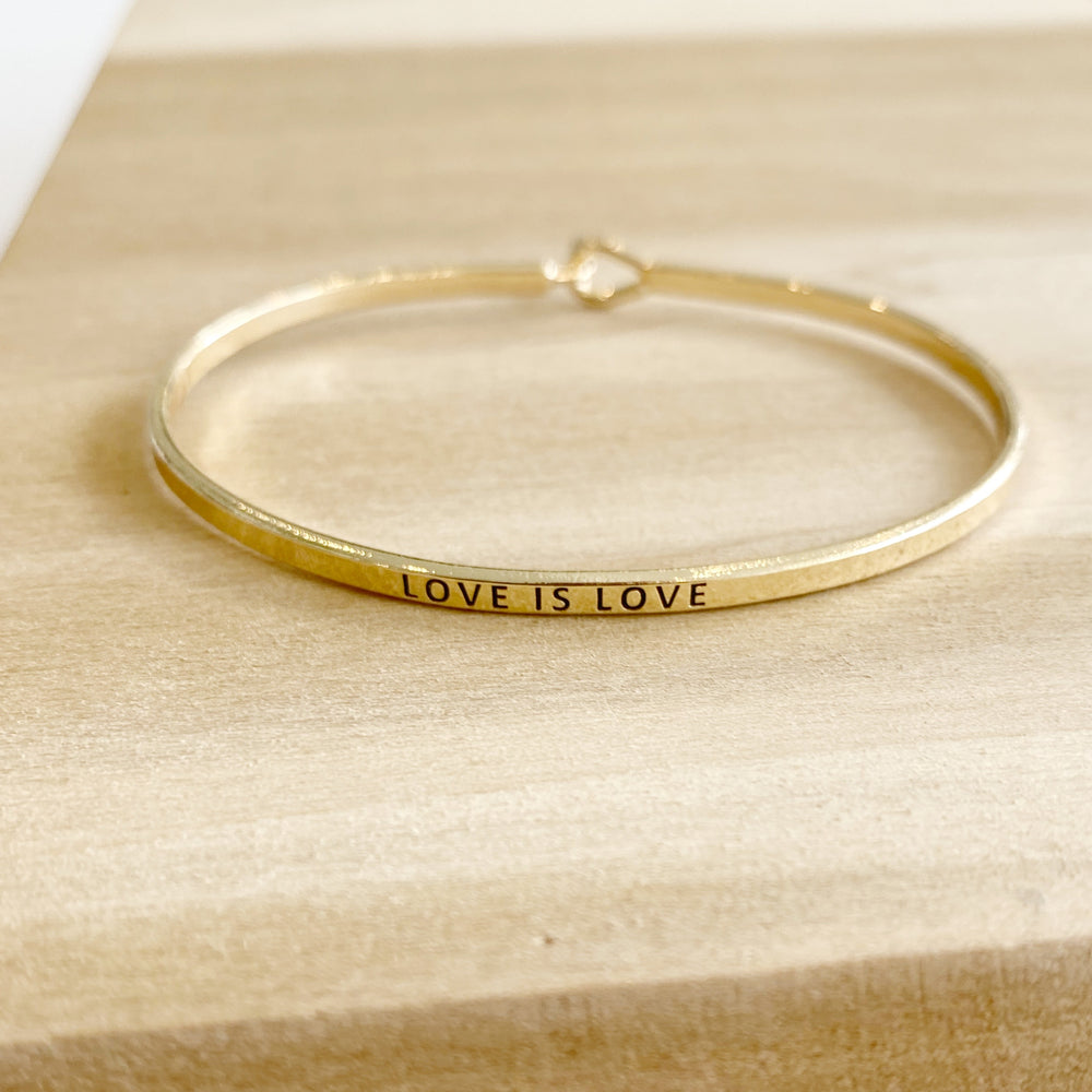 Metal Clasp Bracelet | Love Is Love | Brass