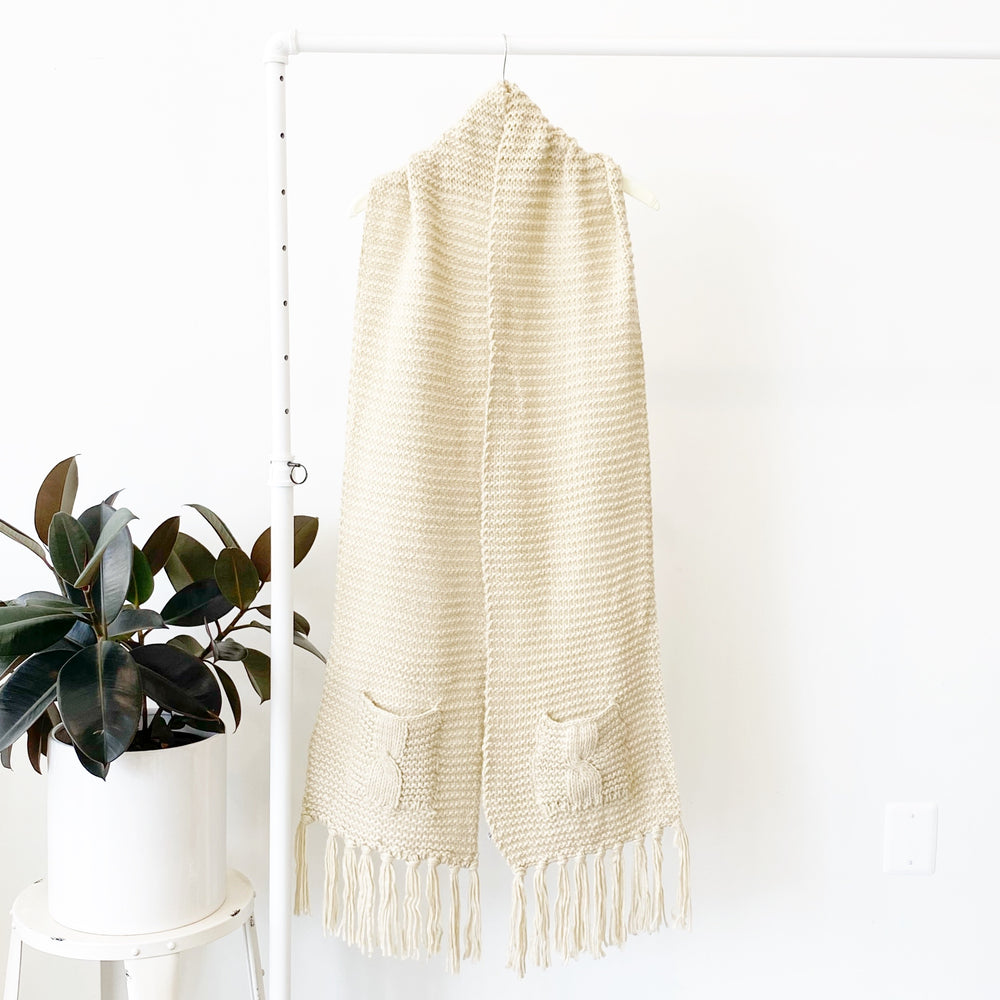 Laura Tasseled Pocket Scarf | Beige