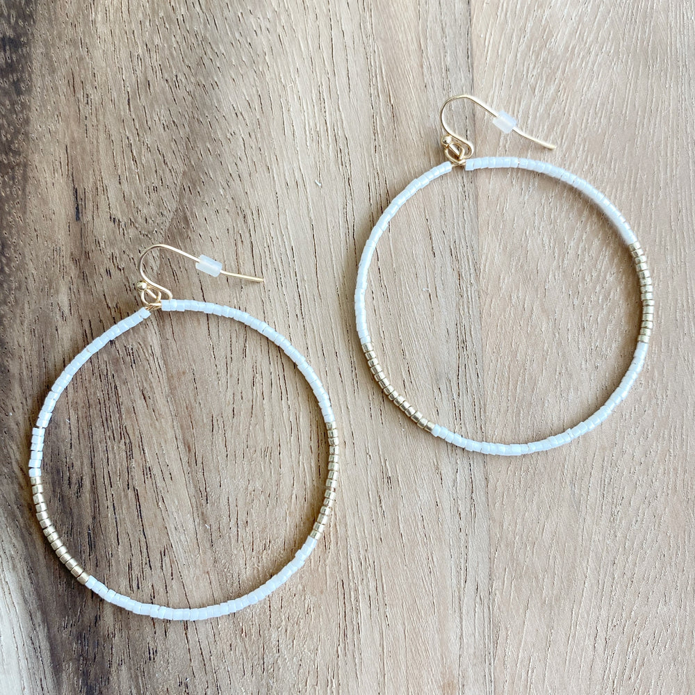 Delicate Beaded Hoop Earrings | White & Gold