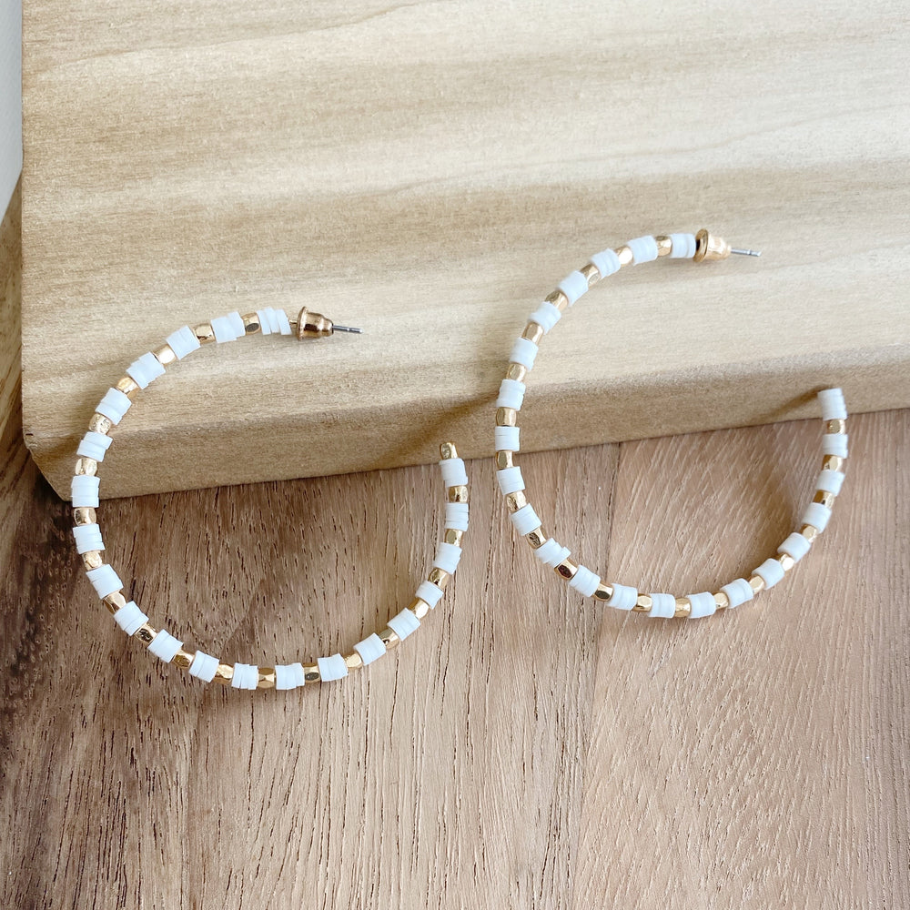 Gold Bead & White Disc Hoop Earrings