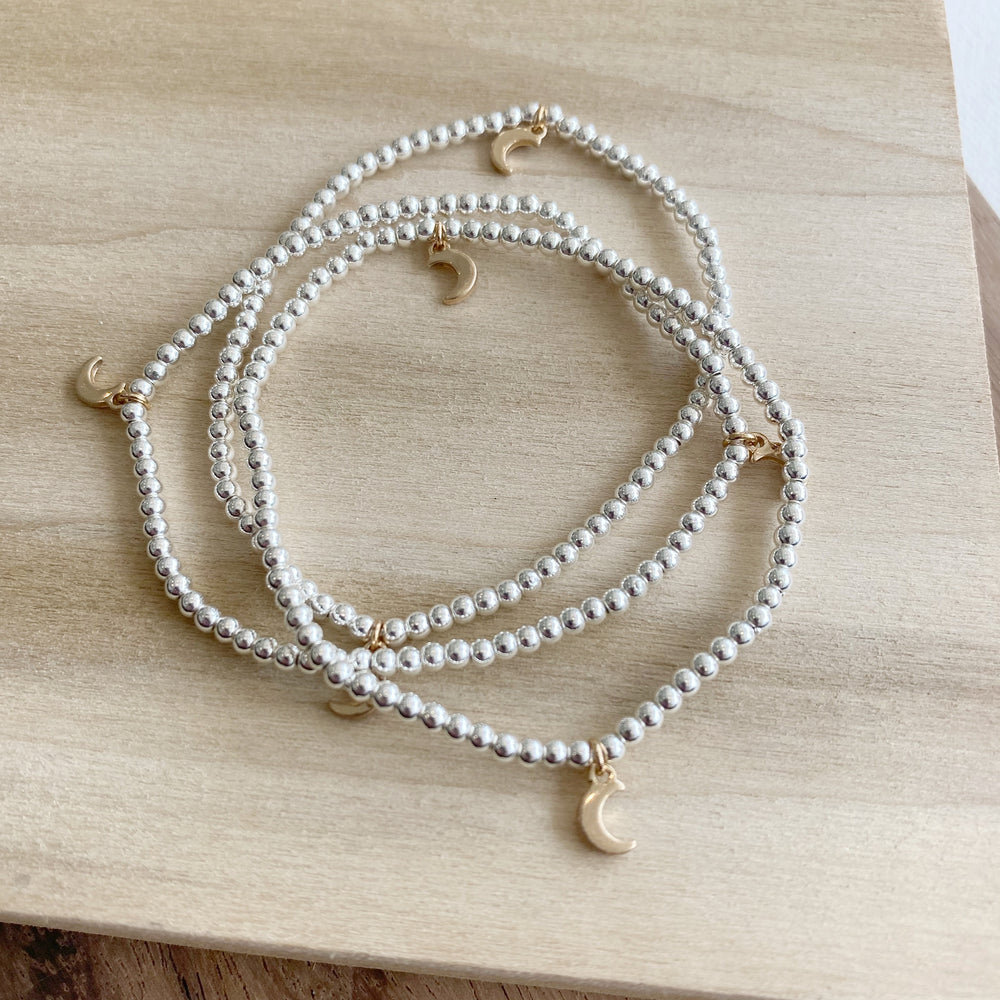 Stacking Bracelets | Silver with Gold Moons - Poppy and Stella