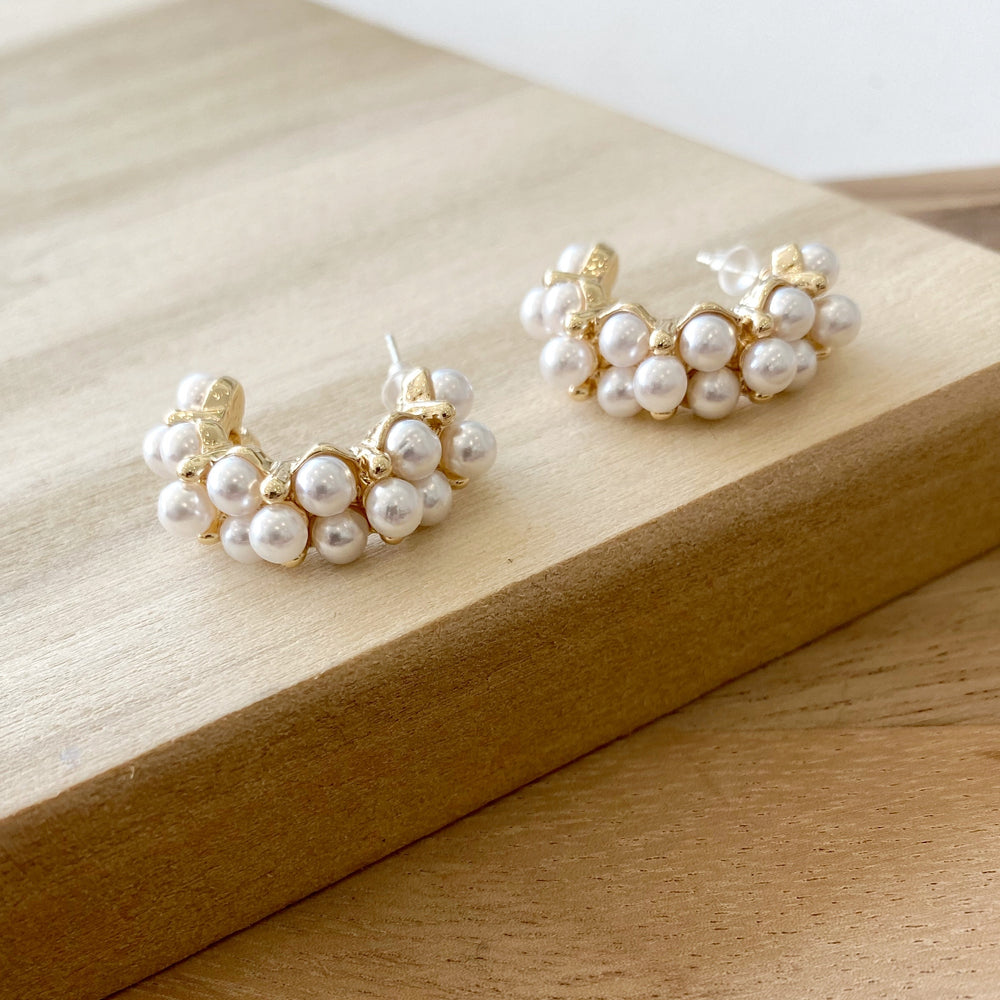 Gold & Pearl Hoop Earrings - Poppy and Stella