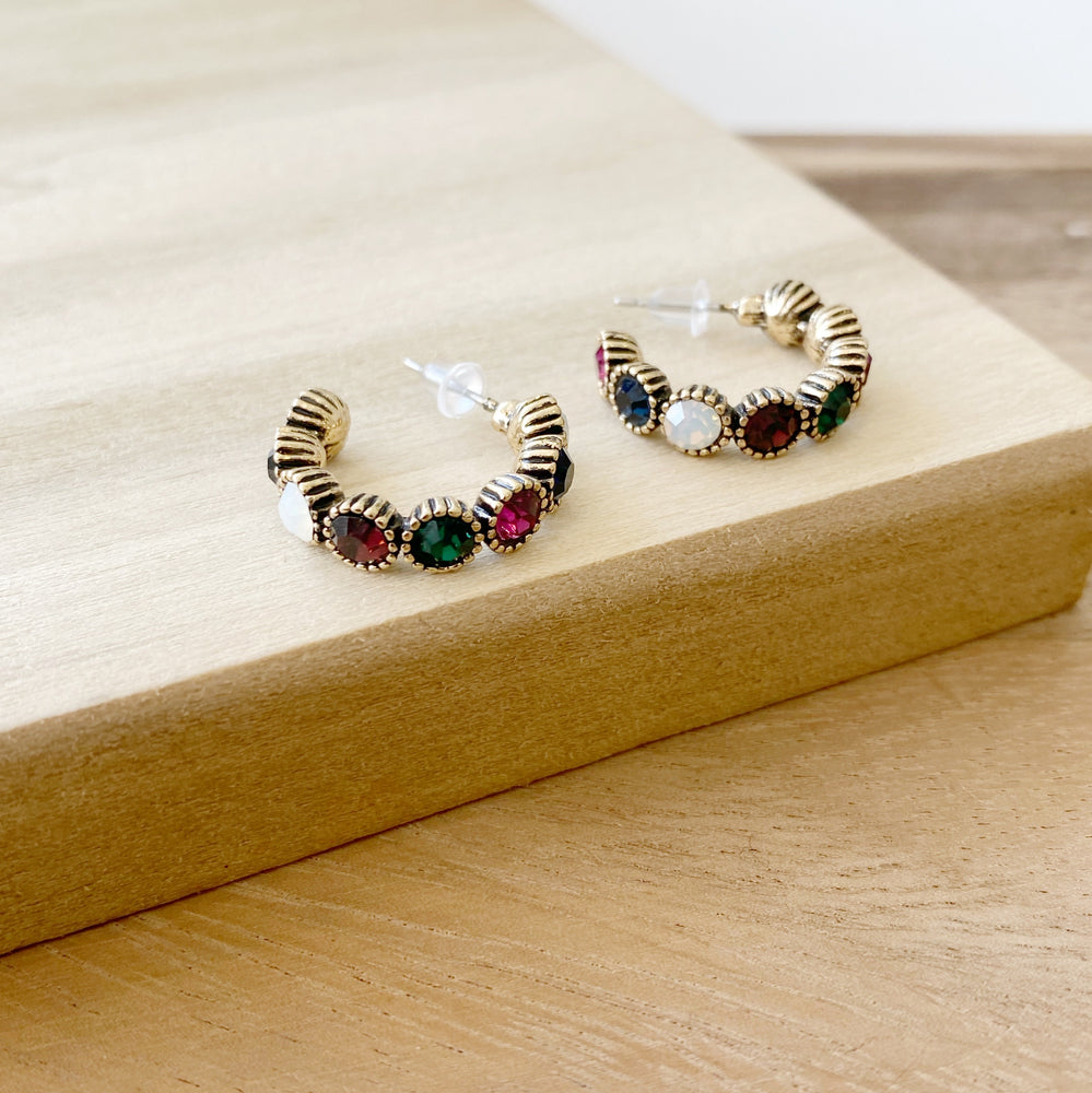 Small Rainbow Gem Hoop Earrings