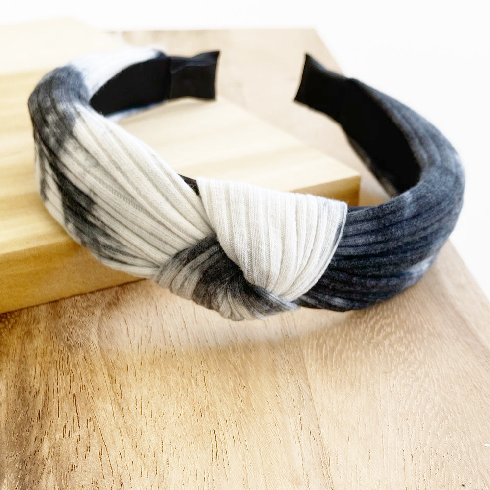 Tie Dye Knotted Headband | Black and White