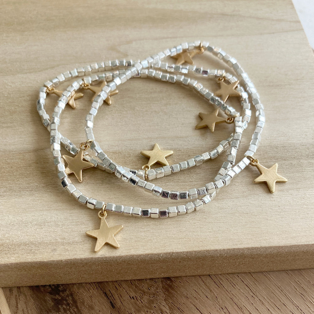 Stacking Bracelets | Silver with Gold Stars - Poppy and Stella
