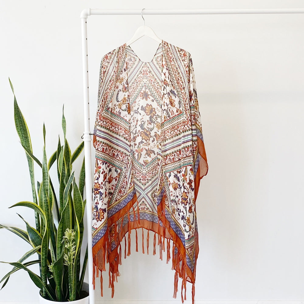 Bohemian Diamond Tassel Wrap | Rust