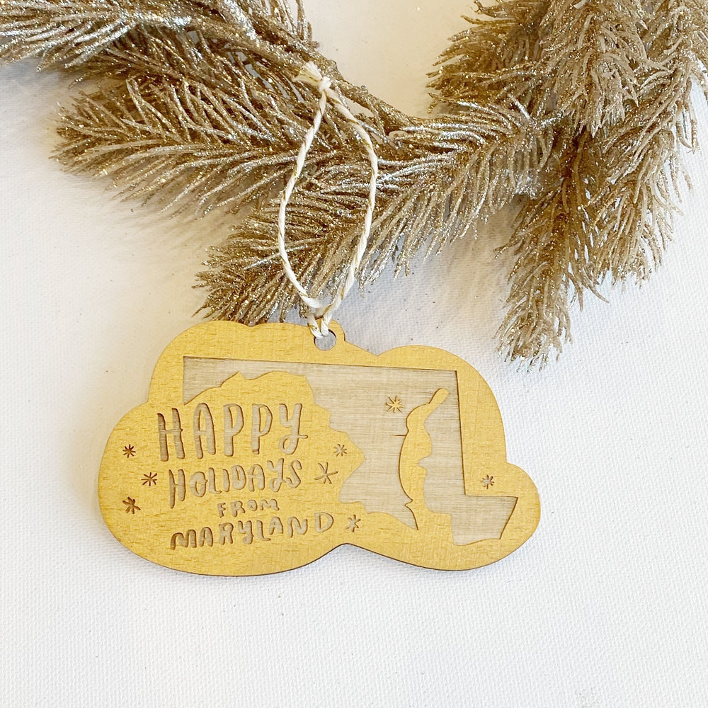 Ornament | Happy Holidays From Maryland | Gold