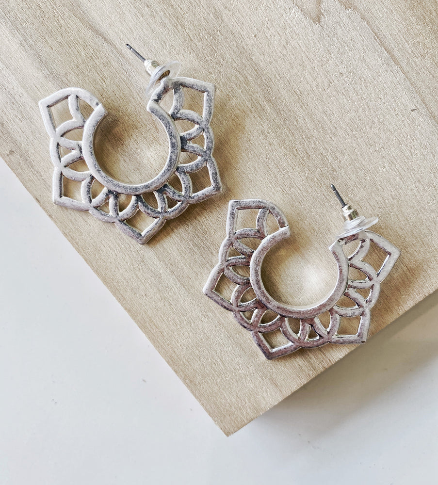 Silver Pattern Half  Hoop Earrings - Poppy and Stella