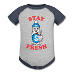 Stay Fresh Baseball Baby Bodysuit - heather gray/navy