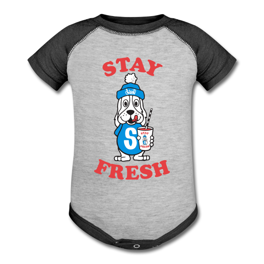 Stay Fresh Baseball Baby Bodysuit - heather gray/charcoal