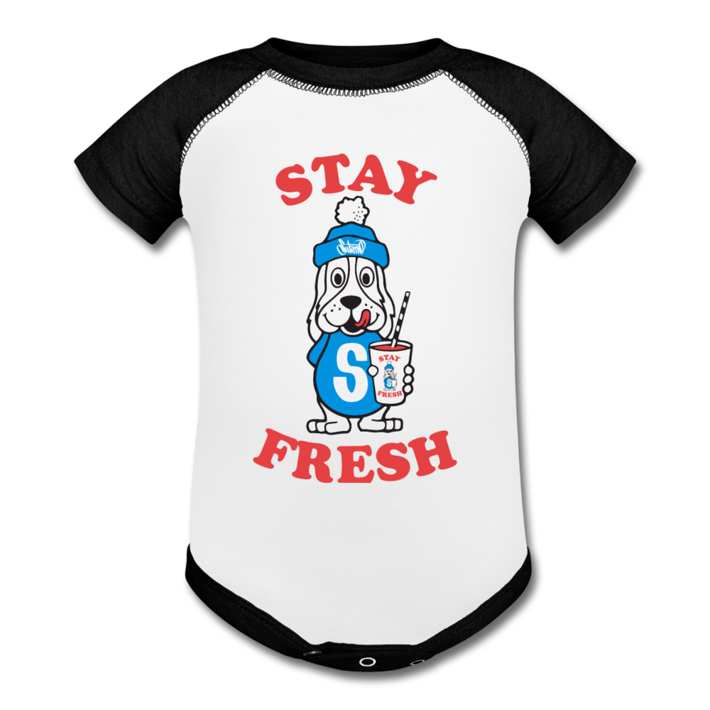 Stay Fresh Baseball Baby Bodysuit - white/black