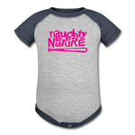 Naughty By Nature Baseball Baby Bodysuit - heather gray/navy