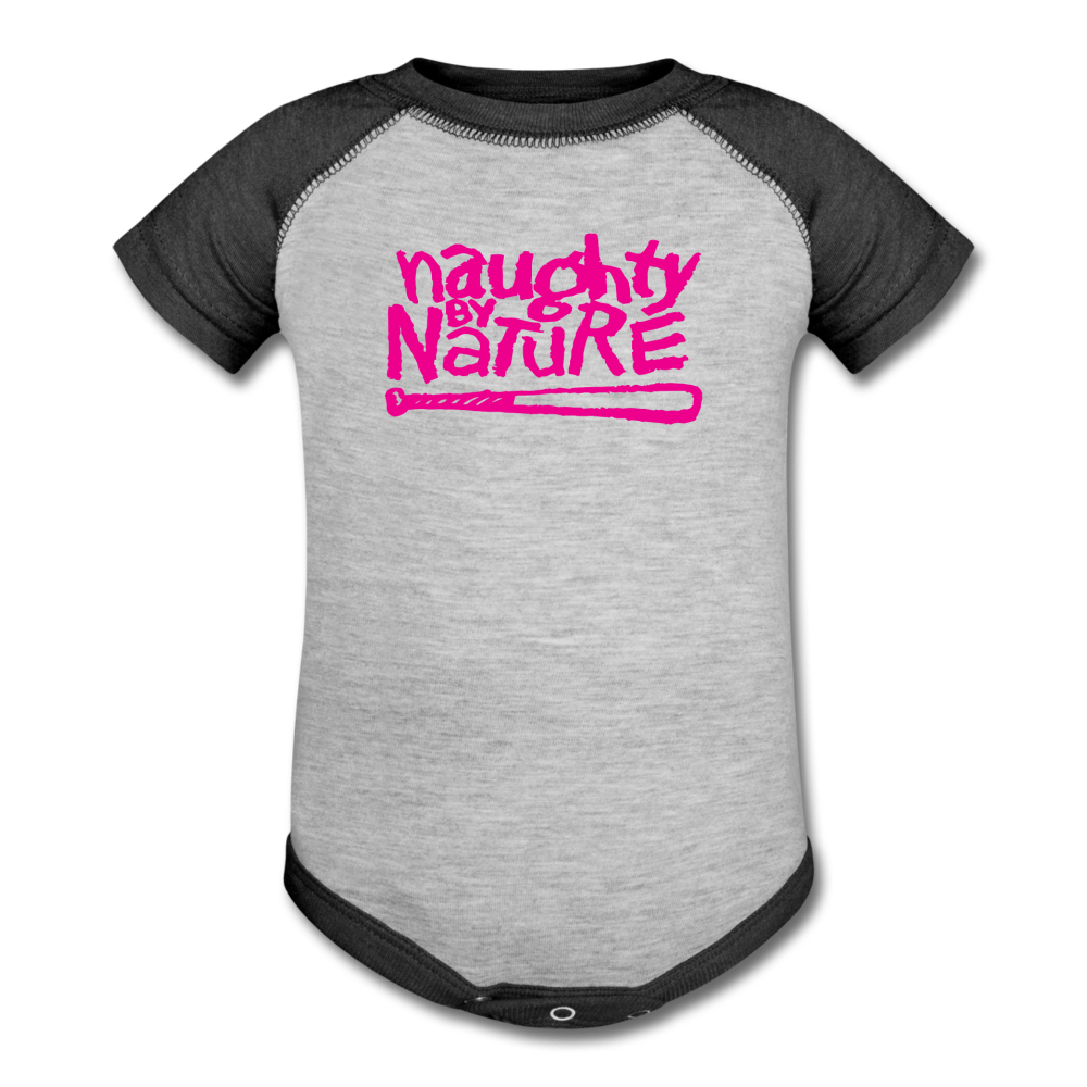 Naughty By Nature Baseball Baby Bodysuit - heather gray/charcoal