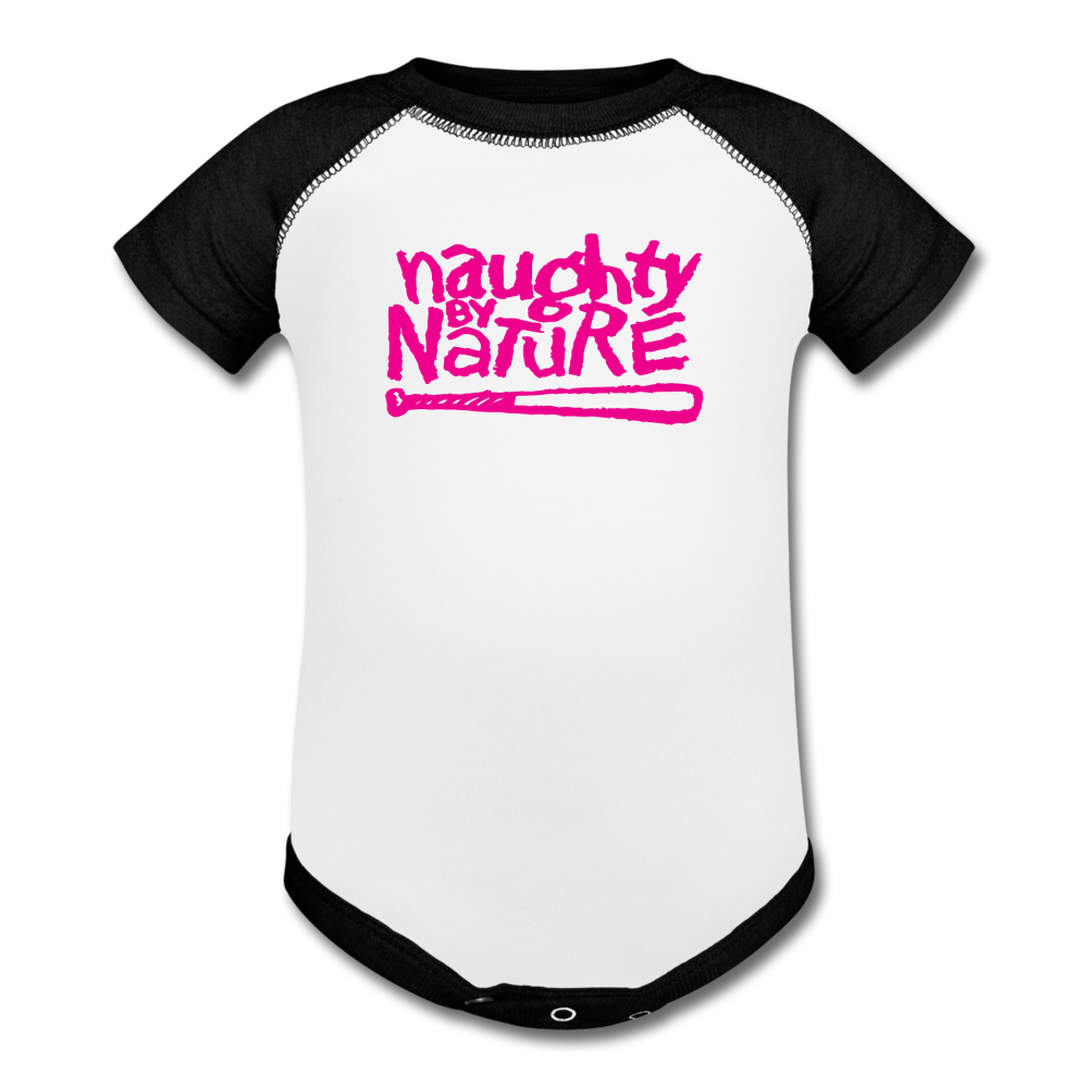 Naughty By Nature Baseball Baby Bodysuit - white/black