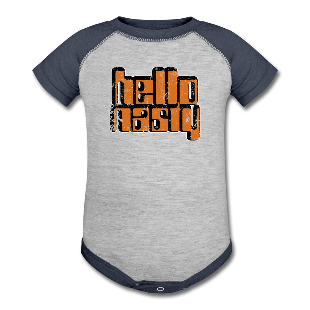 Hello Nasty Baseball Baby Bodysuit - heather gray/navy