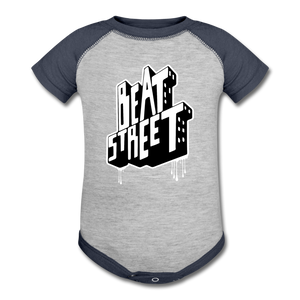 Beat Street Baseball Baby Bodysuit - heather gray/navy