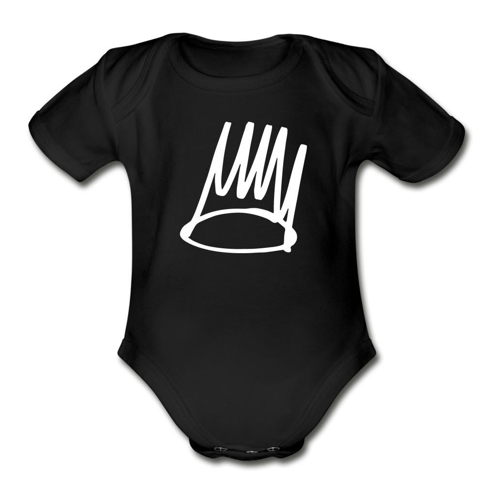 Born Sinner Organic Short Sleeve Baby Bodysuit - black