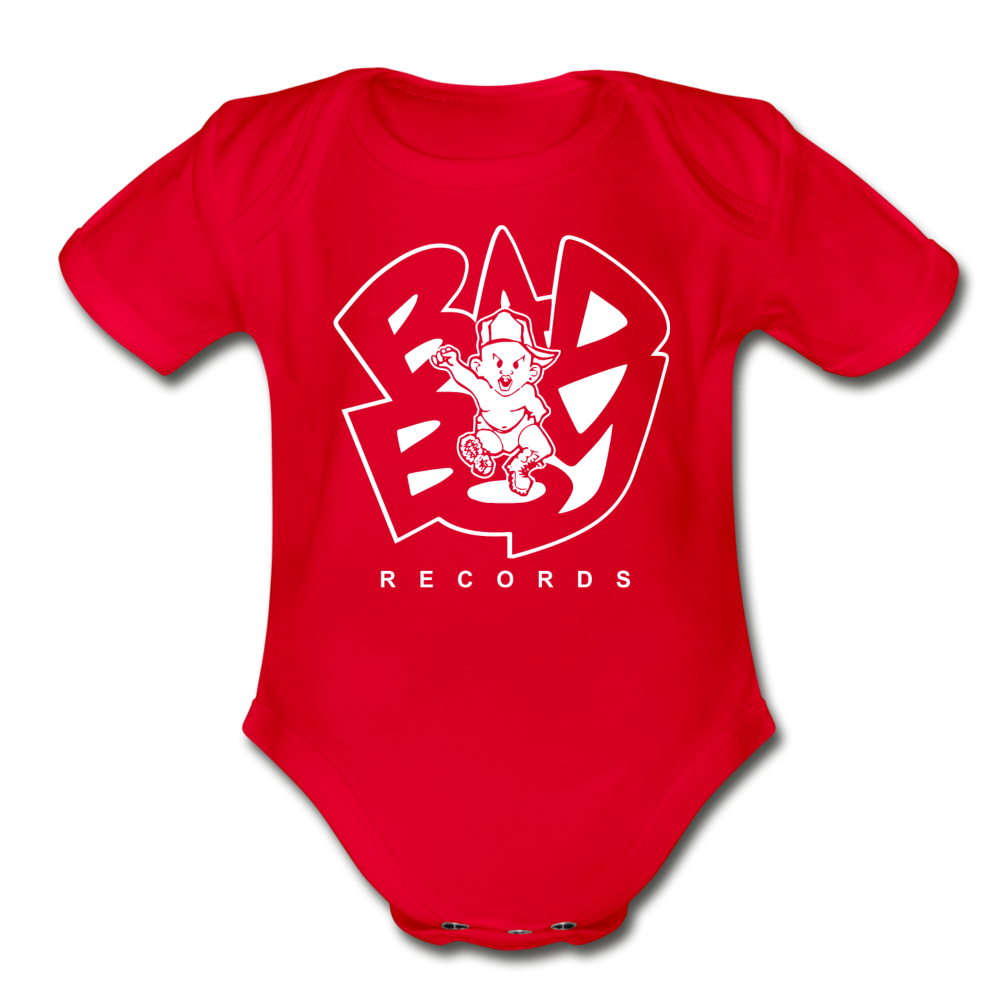 Bad Boy Organic Short Sleeve Baby Bodysuit - red