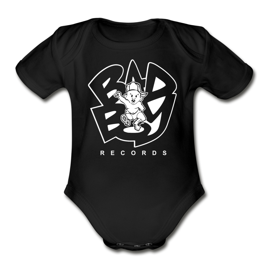 Bad Boy Organic Short Sleeve Baby Bodysuit - black