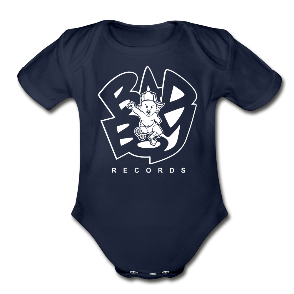 Bad Boy Organic Short Sleeve Baby Bodysuit - dark navy