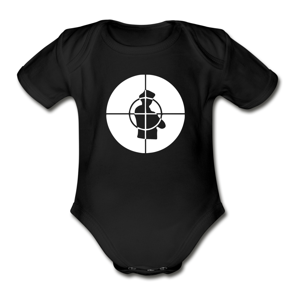 Public Enemy Logo Organic Short Sleeve Baby Bodysuit - black