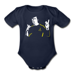 Bruce Lee Organic Short Sleeve Baby Bodysuit - dark navy
