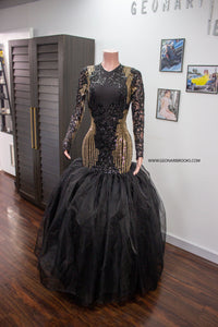 Black and Gold Sequins Dress with Organza Train