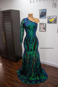 Iridescent Green Sequin Dress