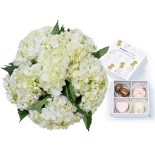 Load image into Gallery viewer, White Hydrangea Bouquet and Fun Champagne Chocolates - H.Bloom