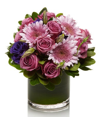 A Fresh Mix of Purple and Lavender Roses and Mums  - H.Bloom
