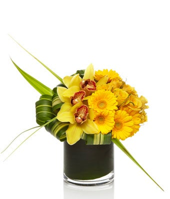 A sunny arrangement of yellow roses, orchids, and daisies with exotic greens in a chic glass vase.