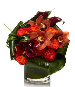 Lush Orange and Burgundy Flower Arrangement- H.Bloom