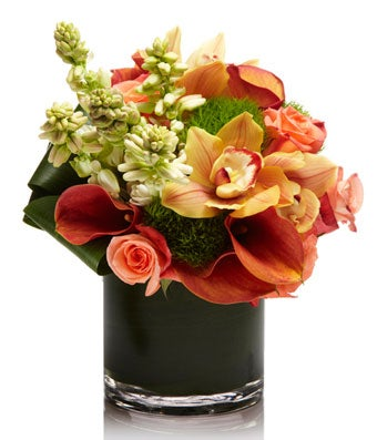 All Orange Luxury Arrangement with Calla Lillies, Roses and Orchids- H.Bloom