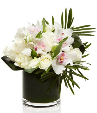 Luxury All White Rose and Orchid Arrangement - H.Bloom