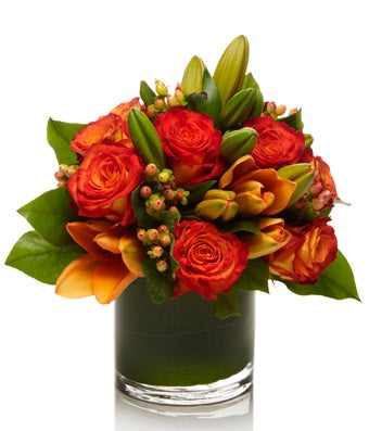 Luxury Arrangement of Orange and Red Roses, Tulips, and Berries  - H.Bloom