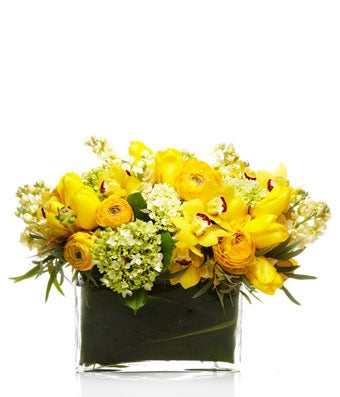A luxe mix of green hydrangea, golden orchids, and bright yellow premium blooms with eucalyptus arranged in an envelope vase.
