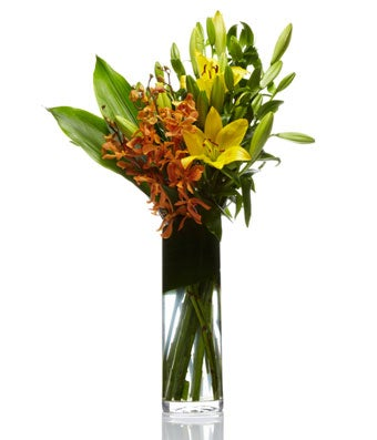 A Modern Arrangement of Orange Orchids and Yellow Lillies - H.Bloom