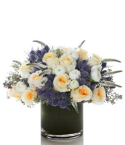 A Luxurious Arrangement of Blue Thistle, White Roses and White Seasonal Blooms - H.Bloom