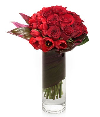 Modern Red Rose and Tulip Arrangement - H.Bloom