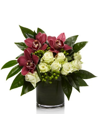 Luxe Arrangement of/Burgundy Cymbidium Orchids and White Roses - H.Bloom