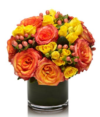 A Fiery Arrangement of Premium Red and Yellow Blooms - H.Bloom
