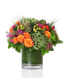 Bright Luxury Seasonal Arrangement with Orange, Pink and Green Flowers