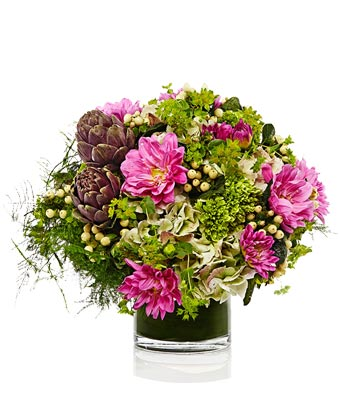 A Garden Style arrangement of Magenta Dahlia, Peony and Roses- H.Bloom