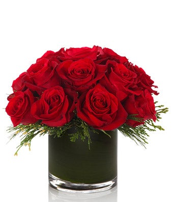 1 Dozen Premium Red Roses with Festive Greenery- H.Bloom