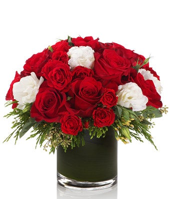A luxe arrangement of Red Roses and White Lisanthus - H.Bloom