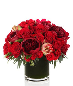 Luxe Modern All Red Floral Arrangement - H.Bloom